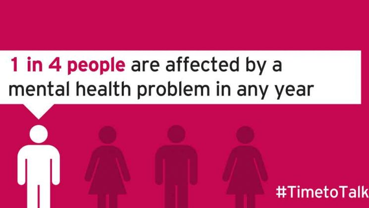 1 in 4 people are affected by a mental health problem in any year