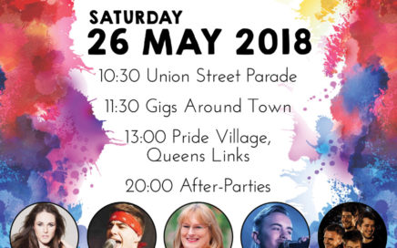 Grampian Pride - Saturday 26 May 2018. Union Street Parade @ 10.30, Gigs around town @ 11.30, Pride Village at Queens Links @ 13.00