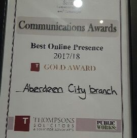 UNISON Scotland Communications Award - Best Online Presence Gold Award 2017/18 Aberdeen City Branch
