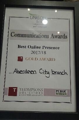 UNISON Scotland Communications Award - Best Online Presence Gold Award 2017/18 Aberdeen City Branch